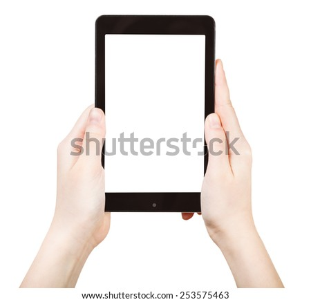 hands holding touchpad with cut out screen isolated on white background - stock photo