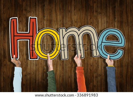 Hands Holding Word Home Concept - stock photo