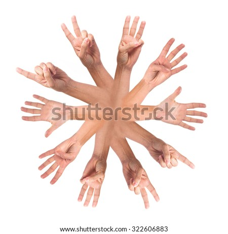 hands in a circle - stock photo