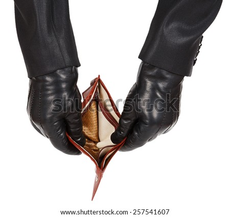 Hands in black gloves holding an open empty wallet isolated on white background - stock photo
