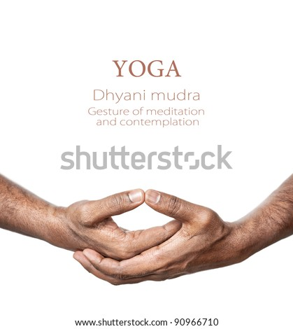 Hands in Dhyani mudra by Indian man isolated at white background. Gesture of meditation and contemplation. Free space for your text - stock photo