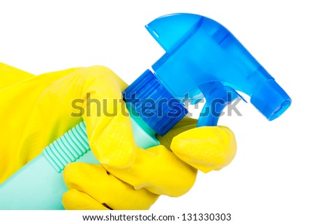 Hands in rubber gloves holding cleaning spray. isolated on white - stock photo