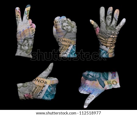 Hands in white gloves wrapped with swedish krona background - stock photo