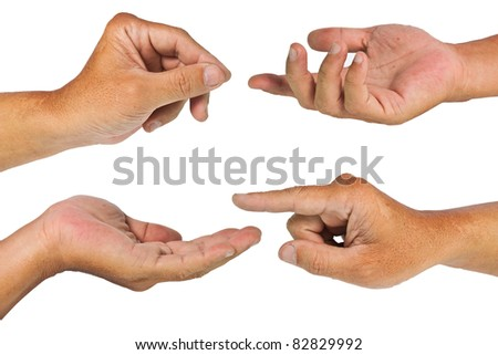 Hands isolated in white background  with clipping path - stock photo