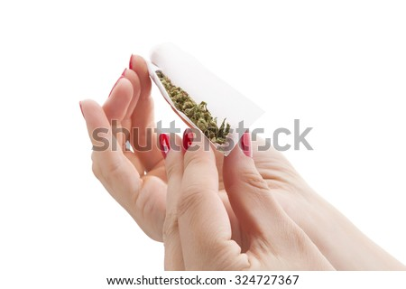 Hands isolated on white background rolling a cannabis joint. Smoking marijuana addiction. Feminine drug abuse.  - stock photo