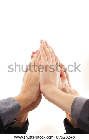 Hands isolated over white background - stock photo