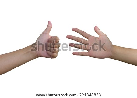Hands like and ignore the white background. - stock photo
