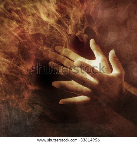 Hands lit up with energy light. Photo based illustration. - stock photo