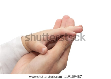 Hands mother and son on a white background - stock photo