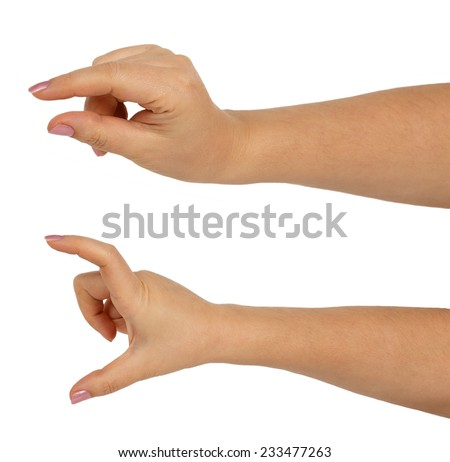 Hands of a caucasian female to hold some small and big objects isolated on white background - stock photo
