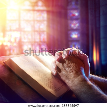 Hands Of A Man Praying With Bible  - stock photo