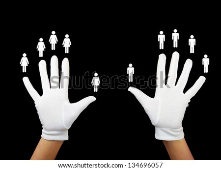 hands of a person with women and men - stock photo
