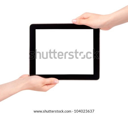 Hands of a woman holding digital tablet displaying a white screen. - stock photo