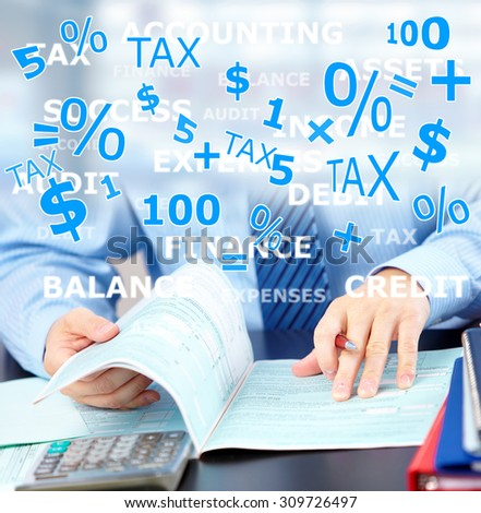 Hands of accountant businessman with calculator. Accounting background - stock photo