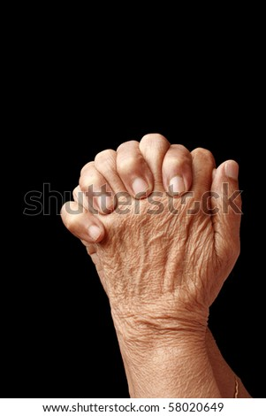 Hands of an old asian woman - stock photo