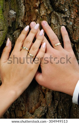 hands of bride and groom with wedding rings on tree bark background  - stock photo