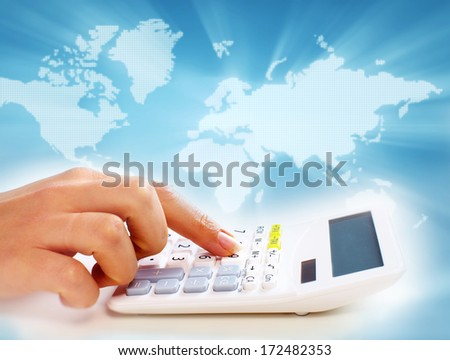 Hands of business people with calculator collage background. - stock photo