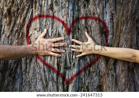 Hands of couple in love hugging a tree with painted red heart - stock photo
