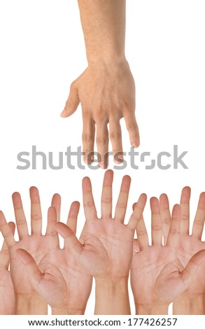 hands of help isolated on white background - stock photo