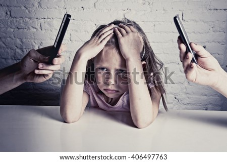 hands of internet and network addict mother and father using mobile phone neglecting little sad ignored daughter bored and lonely feeling abandoned and disappointed in parents bad behavior concept - stock photo