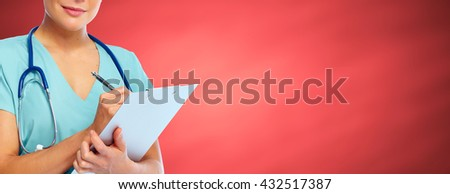 Hands of medical doctor woman. - stock photo
