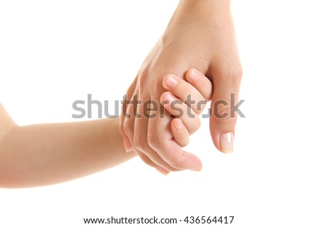 Hands of mother and child isolated on white - stock photo
