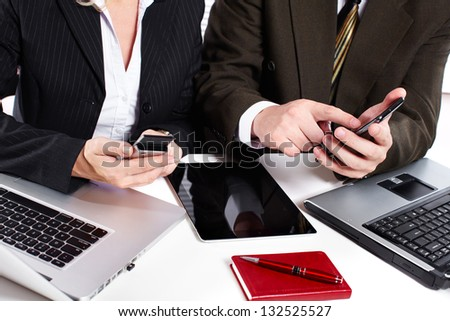 Hands of people working with tablet computer. Technology. - stock photo
