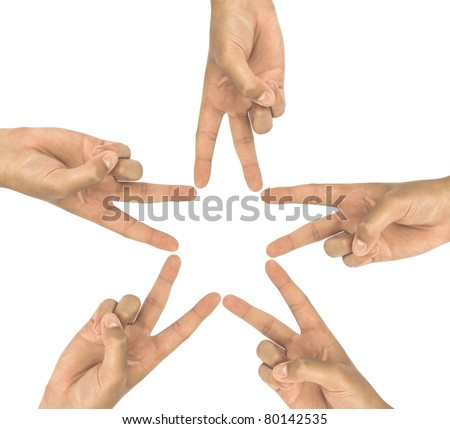Hands of teamwork , forming the star shape - stock photo