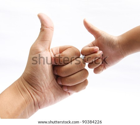 Hands of the father and son giving ok,hand giving ok on white - stock photo