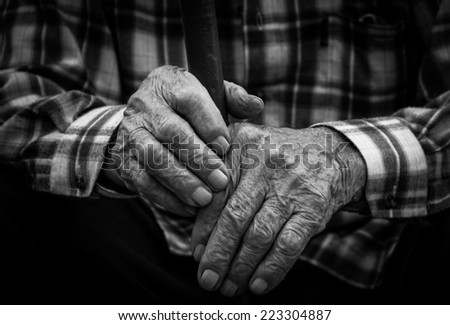 Hands of the old man. Black and White.   - stock photo