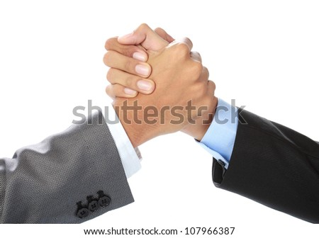 hands of two businessman holding each other - stock photo