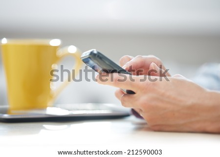 Hands of woman sending SMS via smartphone at lunch - stock photo