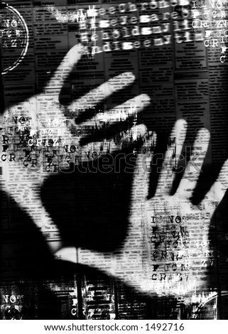 hands on screen (digital composition) - stock photo