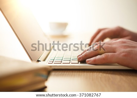 hands on the keyboard - stock photo
