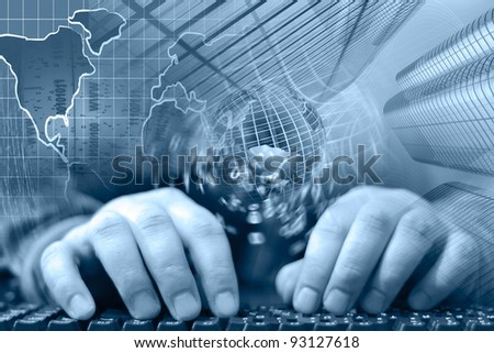 Hands on the keyboard - abstract computer background. - stock photo