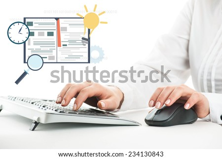 Hands on the keyboard and on the mouse. - stock photo