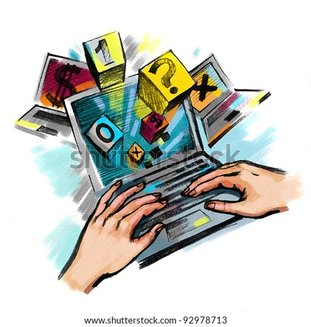 Hands on the laptop keyboard. Art is created and painted by photographer. - stock photo