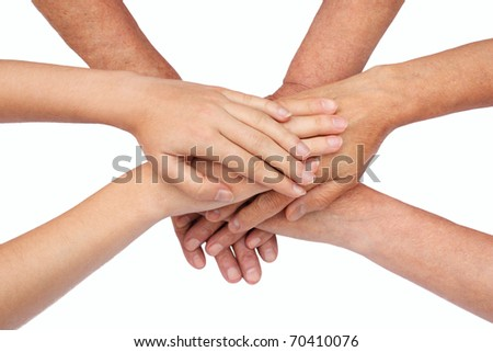 Hands on top of each other isolated - stock photo
