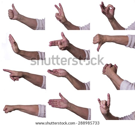 Hands on white background pointing to the side - stock photo