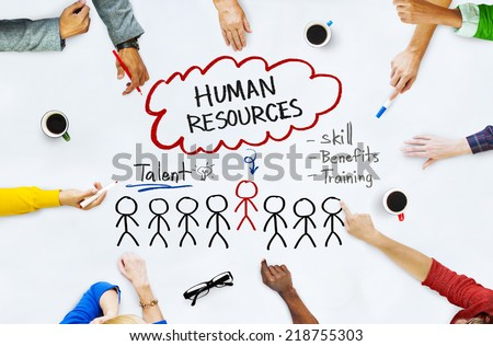 Hands on Whiteboard with Human Resources Concepts - stock photo