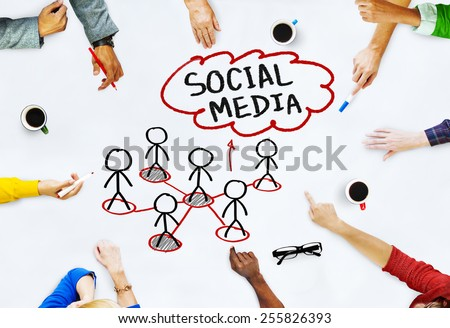 Hands on Whiteboard with Social Media Concepts - stock photo
