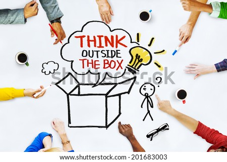Hands on Whiteboard with Think Outside the Box Concepts - stock photo