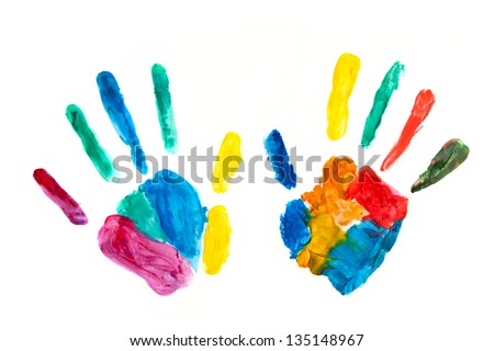 Hands painted, stamped on paper, colorful fun. Creative, funny and artistic means happy! Isolated on white. - stock photo