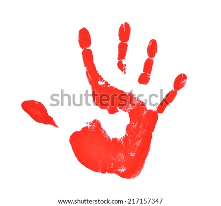 Hands painted, stamped on paper, isolated on white - stock photo