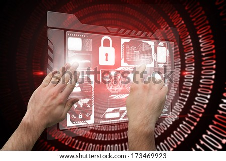 Hands pointing and presenting against shiny red binary code on black background - stock photo