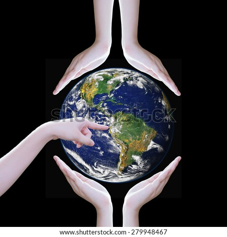Hands protect earth ,Elements of this image furnished by NASA - stock photo