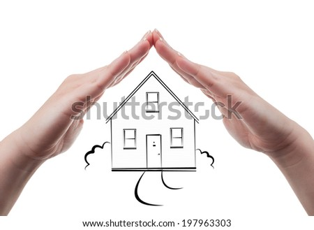 Hands protecting a drawn house. Home insurance concept isolated on white background - stock photo
