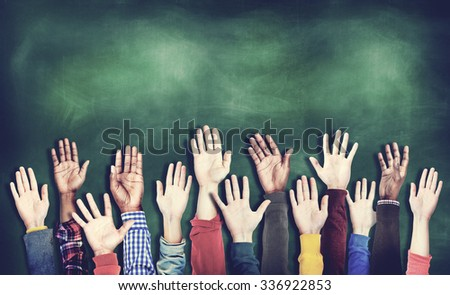 Hands Raised Togetherness Diversity People Concept - stock photo