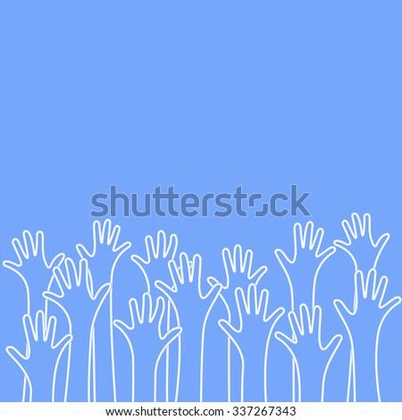 Hands raised up background - stock photo