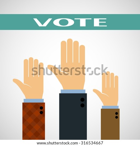 Hands raised up for a vote. Stock image. - stock photo